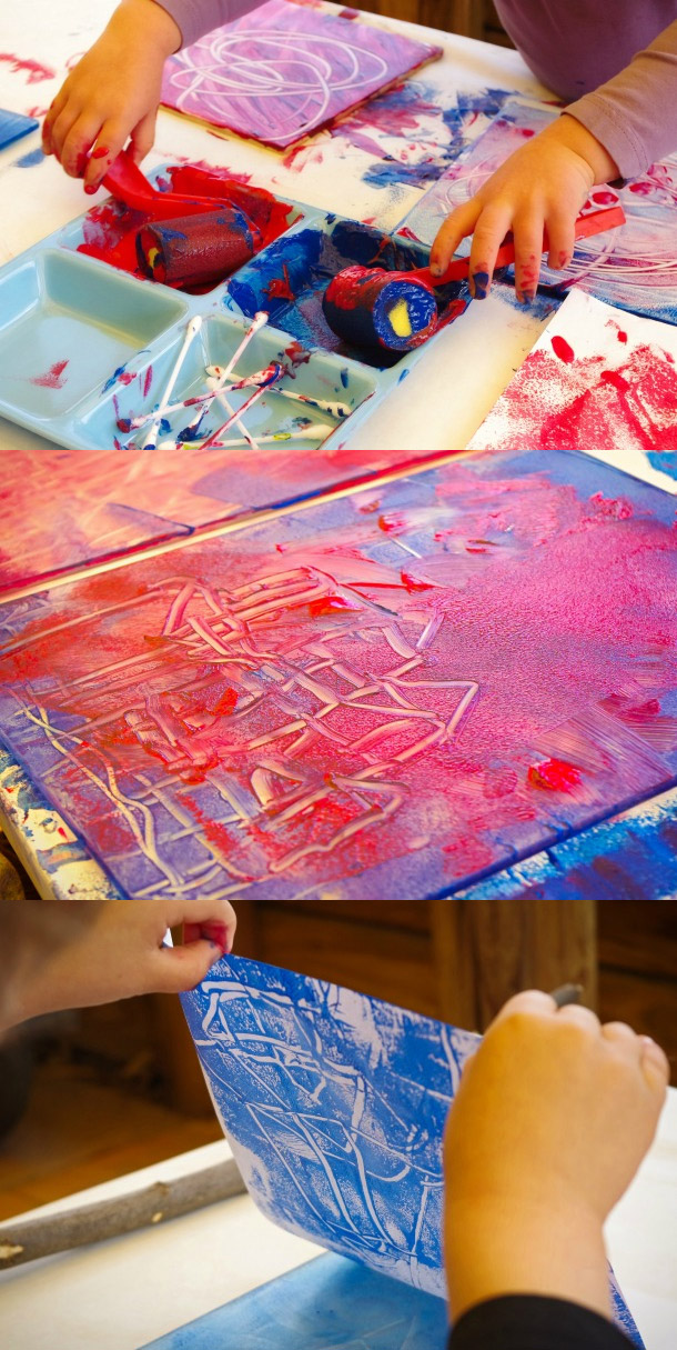 Exploring Color & Color Mixing with Monoprinting