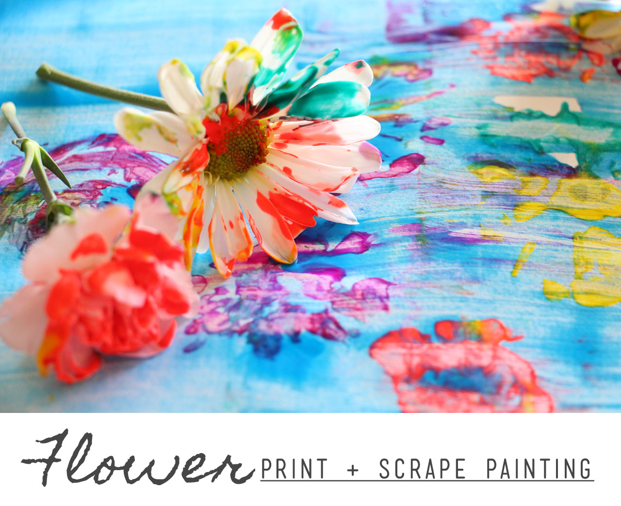 flower print scrape painting u2013 playful learning